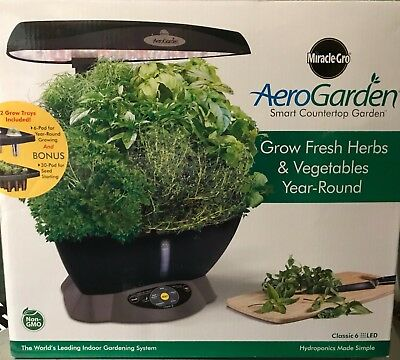 Miracle-Gro Hydroponic Grow System Classic 6 with Gourmet Herb Seed AeroGarden
