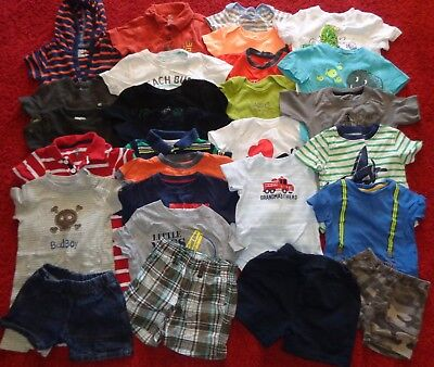 Huge Lot Of Boys Summer Clothes Outfits Gap Old Navy Shorts Shirts Size 12 Mo.