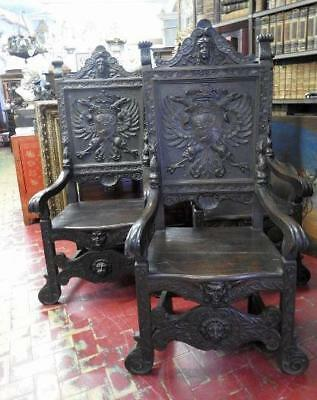 Group Of 4 Important Armchairs Thrones 700 With Emblems Noble Period 18° Century