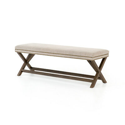 "59"" Ubalda Bench Heather Twill Stone Nettle Wood 50%cotton 50%jute Iron Warm Ce"