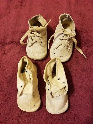 Two Pair Of Vintage/antique Leather Baby Shoes-1940's
