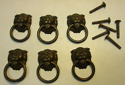Vintage Lion Head Drawer Pulls Set of (6)