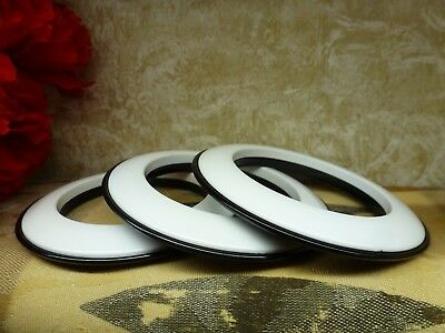 Vintage LOT RARE BANGLE BRACELETS Lucite - One Side WHITE & One Side BLACK  Set