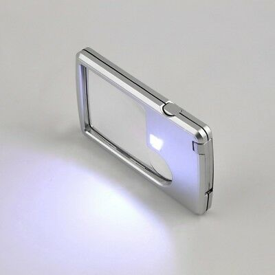 Portable Pocket Magnifier With LED Light Card Typed Loupe Magnifying Glass Loupe
