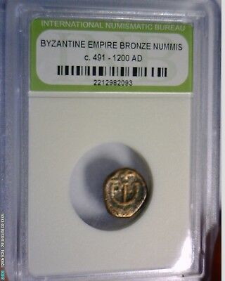 Ancient 491-1200 AD Roman Byzantine Bronze Coin in a Cheap Slab Lot 8 NO RESERVE