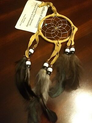 "Authentic Native American Navajo Buckskin  Dream Catcher 3"" By Mae Stone #3231"