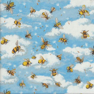 Bees Bumblebees Blue Sky Clouds Insect Quilting Fabric FQ or Metre *New*