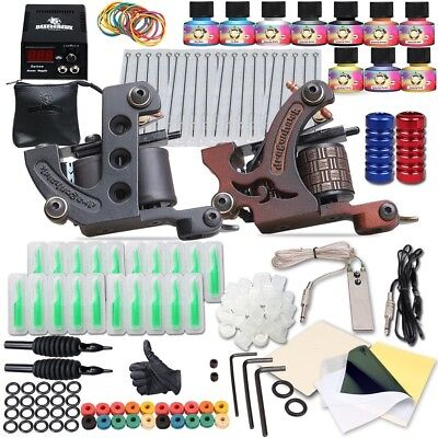 New Professional Complete Tattoo Kit 2 Machine Gun 10 Color Inks Power Supply