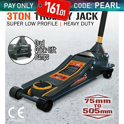 3TON Super Low Profile Jack 3T Hydraulic Car Trolley DUAL PUMP Floor 75 to 505mm