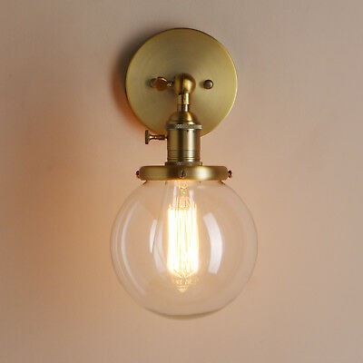"5.9"" Globe Glass Shade Vintage Industrial Wall Lamp Sconce Loft Decor Wall Light"