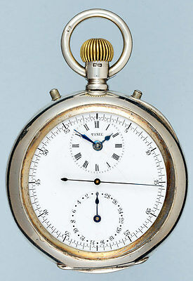 Unusual Silver Patent Chronograph pocket watch