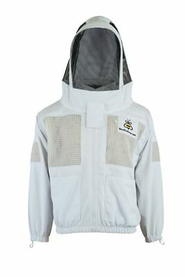 Top Bee Clothing 3 Layer beekeeping jacket ventilated fency veil hood@S-UK1