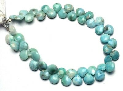 Natural Gem Larimar Super Quality Faceted 7 to 8MM Heart Shape Briolettes 8""