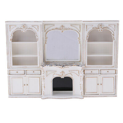 Miniature White Wood Display Cabinet for 1/12 Doll House Furniture Accessory