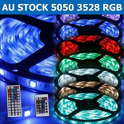 1-30M 5050 3528 RGB LED Strip Light Flexible Lighting 12V IR Controller Adapter