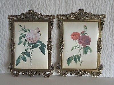 2 Vintage Italian Silk Pictures in Brass Frame Pink Red Roses Flowers