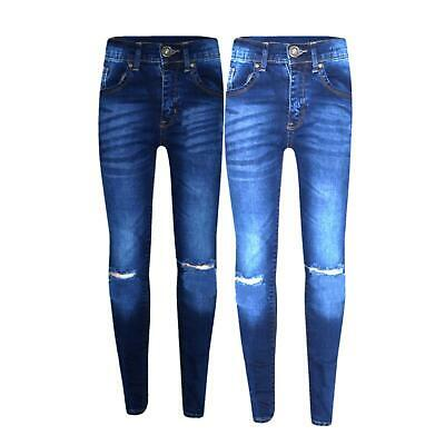 Girls Stretchy Blue New Denim Pants Trousers Jeans Age 5-14 Ripped Jeans Kids