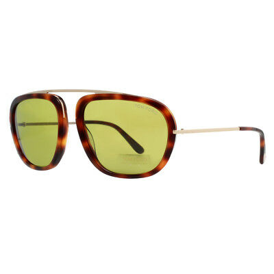 0d45334cf2255 Tom Ford Johnson TF453 52N Dark Havana Brown Gold Green Men s Sunglasses