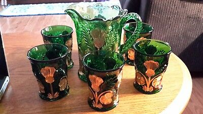 Mosser Glass Pitcher & 6 Glasses inverted Thistle Emerald Green with Gold EUC