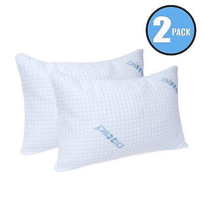 Plixio Deluxe Bamboo Cooling Shredded Memory Foam Pillow with Case- 2 Pack King