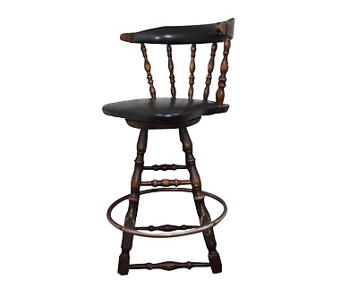 Antique Vintage Winchendon Furniture Leather Wood Swivel Bar Stool Chair