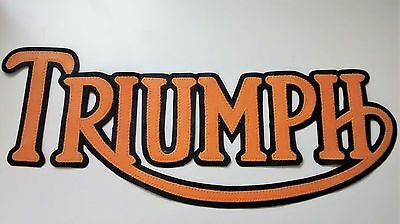 Triumph Motorcycles 12 Inch Patch Gold Lettering With Black Synthetic Leather