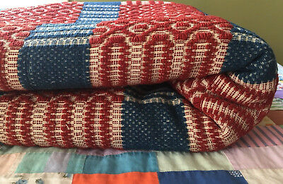 EARLY Antique LINSEY WOOLSEY OVERSHOT Coverlet Patriotic Red White Blue 70x90