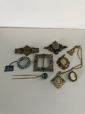 Lot of Antique and Old Collectible Jewelry-Cameos, Rhinestones, Hair Pin