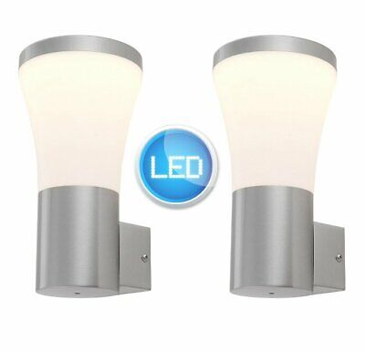 Pair of Brushed Stainless Steel IP44 LED Outdoor Garden Wall Porch Lights