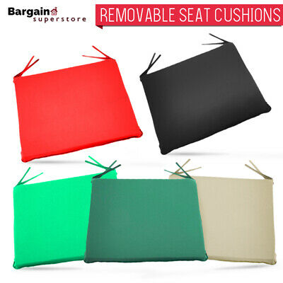 1/2/4/6 X Square Removable Tie On Garden Outdoor Chair Seat Cushions Pads Zipped