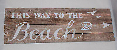This Way To The Beach Hanging Sign Plaque Summer Garden Bathroom Wooden Plank