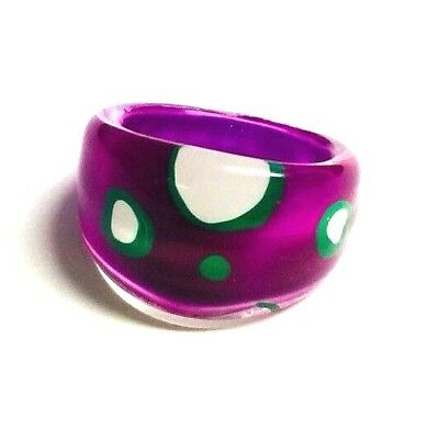 Vintage Purple White & Green Reverse Painted Domed Lucite Ring Sz 7