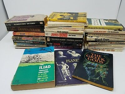 Mixed lot 28 Vintage Paperback Books - Greek Gods Steinbeck Capote Dickens more