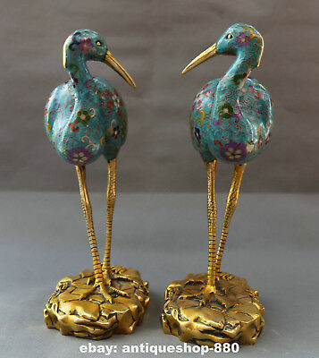 "15.4"" Chinese Cloisonne Enamel Bronze Animal Red-crowned Crane Bird Statue Pair"