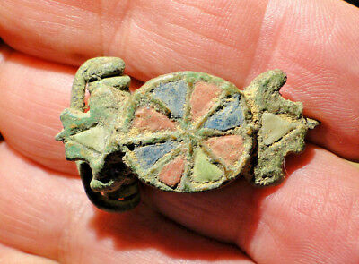 "Very Rare Late Roman Bronze Enamelled Fibula Brooch ""as found"""