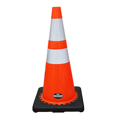 "28"" RK Orange Safety Traffic PVC Cones, Black Base w/ 2 Reflective Tape (8 Pack)"