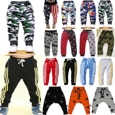 Baby Boy Girls Harem Pants Kid Sports Casual Sweatpants Joggers Bottoms Age 2-7Y
