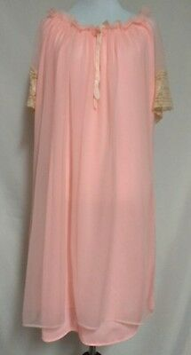 Vintage Womens Pink Sheer Lined Beige Lace Trim Night Gown L