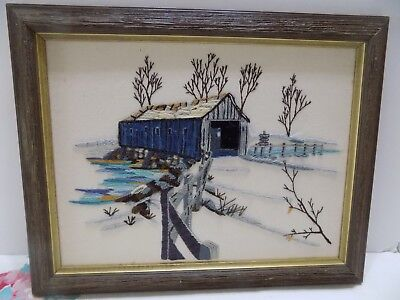 "Finished Crewel Work Picture  Framed 11.5 x 14.5"" Covered Bridge in Winter Fence"