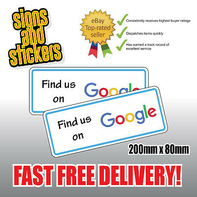 "2 STICKERS ""Find us"" on Google Social Network Business shop media advertising"