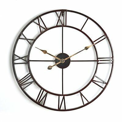 Vintage Retro Giant In Outdoor Wall Clock Garden Roman Numeral Metal Clocks 58cm