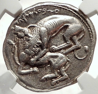 BYBLOS Phoenicia 400BC Silver Shekel Authentic Ancient Greek Coin NGC AU i66895