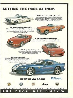 1996 DODGE VIPER INDIANAPOLIS INDY 500 PACE CAR  automobile ad advertisement