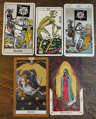 5 Mixed Major Arcana Tarot Card Lot XIII *DEATH* Occult MAGIC *Art Ideas*