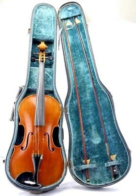 French Circa 1790's Stradivarius Copy Violin & Bows With Case-Nr
