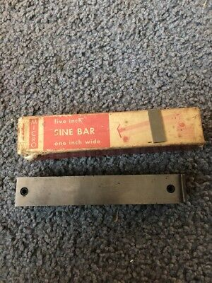 "Micro 5 Inch Sine Bar 1 "" Wide Hardened Precision Ground Machinist Tool"