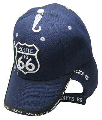 Embroidered Route 66 Rte 66 Black Shadow baseball style ball Cap Hat