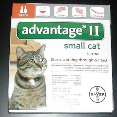Bayer Advantage II For Small Cats 5-9 lbs (2 Pack) Comes w/Box 100% Genuine!!!