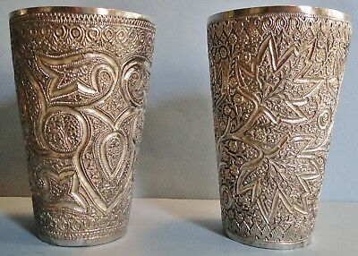 Large Antique Pair Indian Silver Goblets Beakers Drinking Cups Repousse 420 Gr.
