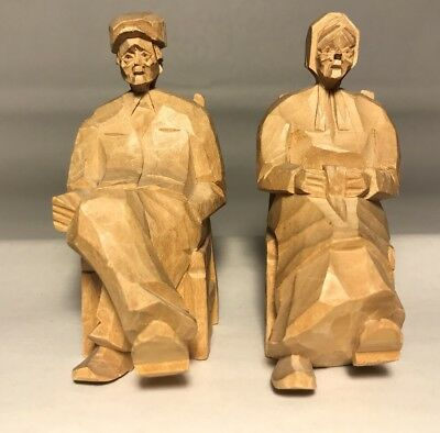 Vintage Folk art Hand Carved Wood Old Man Old Woman One of A Kind